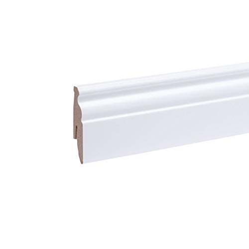 Sockelleiste weiß - Berliner Profil 60 x 20 x 2.600mm MDF - Fußleiste Weiss   stabiler MDF-Kern   Bodenleiste mit integriertem Kabelkanal + Clipfräsung