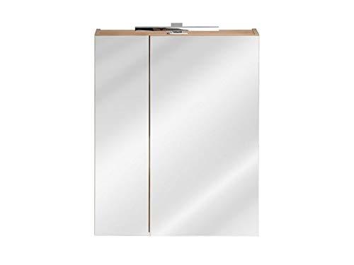 Jadella spiegelkast 'Sun 60 ' badkamerspiegel 60 cm eikenhout decor met verlichting