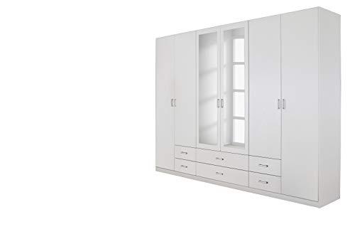 Rauch Möbel Gamma Schrank Drehtürenschrank Kleiderschrank in Weiß mit Spiegel 6-türig, inklusive...