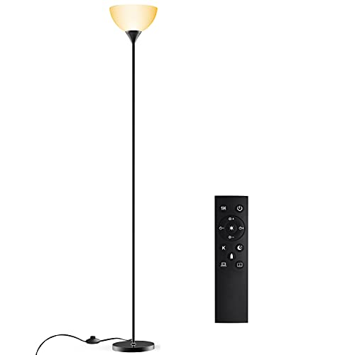 Floor Lamp, Remote Control with 4 Color Temperatures, Torchiere Floor lamp for Bedroom, Standing Lamps for Living Room, Bulb Included (Glossy Black)