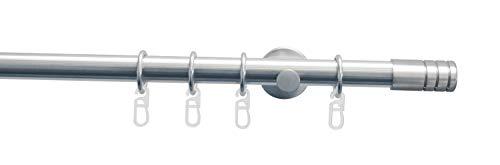 Gardinia Gardinenstangen Set 1-Lauf Zylinder Ø 20 mm Edelstahl-Optik 120 cm