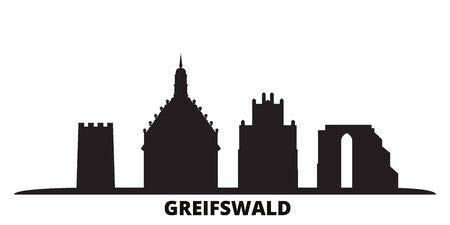 adrium Alu-Dibond-Bild 100 x 50 cm: Germany, Greifswald City Skyline Isolated Vector Illustration. Germany, Greifswald travel Cityscape with Landmarks, Bild auf Alu-Dibond