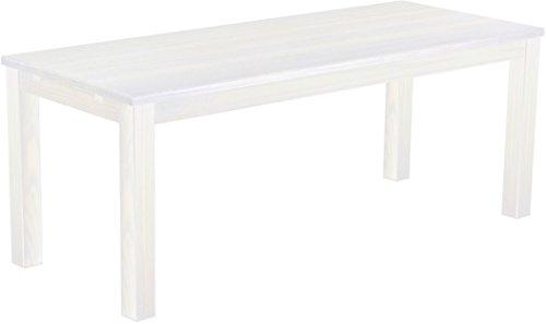 Brasilmöbel Esstisch Rio Classico 200x80 cm Pinie Weiß Massivholz Pinie Holz Esszimmertisch Echtholz Größe und Farbe wählbar ausziehbar vorgerichtet für Ansteckplatten