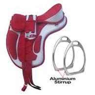 Y&Z Enterprises Pferdesattel, ohne Baum, synthetisch, mit Steigbügeln und passendem Gurt, Rot / Grau