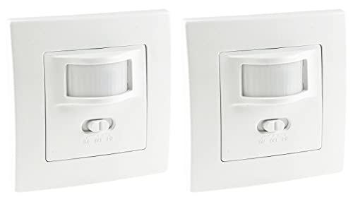 ChiliTec 2 Stück Bewegungsmelder I Unterputz Einbau Sensor I LED geeignet I 9m Reichweite 2-Draht Technik IP20 I ersetzt einen Schalter I Weiß