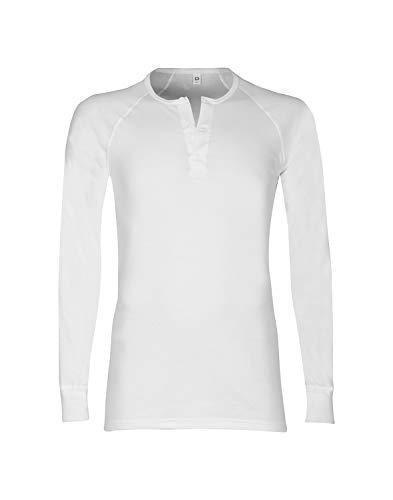 DILLING Baumwoll Langarmshirt für Herren – mit Knopfleiste Weiß M