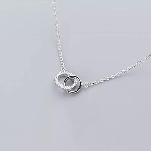 N/A Regalo de la joyería del Colgante del Collar de la Mujer Collar Doble Círculo Interlock Clavícula Collar Corto Colgante de circonita cúbica para Mujer Joyería de Boda