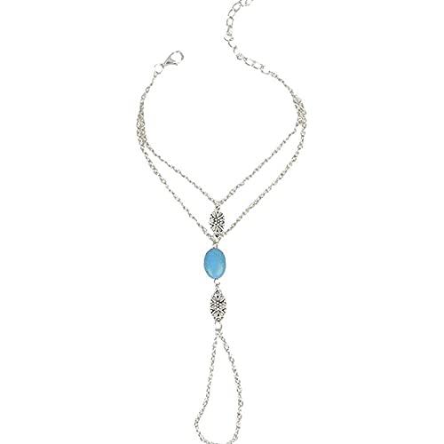 chaosong shop Pulsera de cuentas turquesa con anillo de plata azul turquesa esclavo arnés