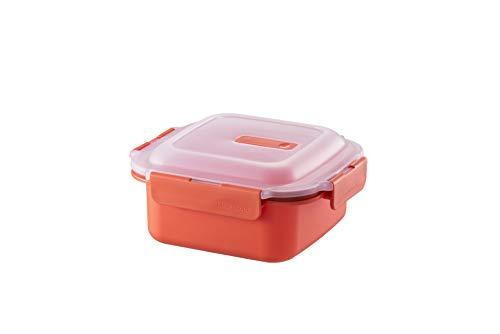 LOCK & LOCK Mikrowellengeschirr aus Kunststoff – quadratisch – Teller mit transparentem Deckel für die Mikrowelle – 1100 ml