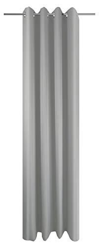 Ösenschal Vorhang Grau Uni Blickdicht Lichtdurchlässig HxB 245x145 cm - Dekoschal Gardine Silber