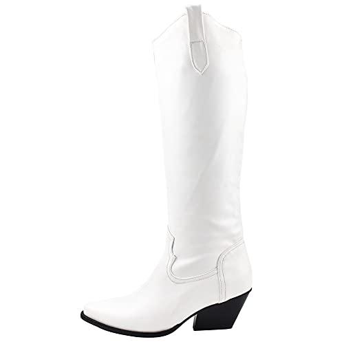 MeiLuSi Botas de vaquero para mujer apiladas tacón grueso vaquera botas occidentales vintage montar a la rodilla botas altas, 4 blanco, 38 EU