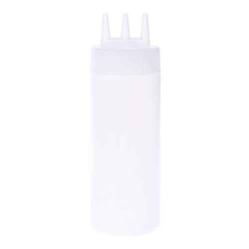 Xuebai Dispensador de condimentos para Botella exprimible de 3 Orificios, dispensador de condimentos para Salsas, vinagre, Aceite, Ketchup, contenedor, Blanco
