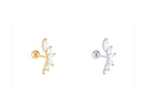 BSbattle Pendientes de plata de ley 925 para el lóbulo de la oreja, para cartílago, para mujer, coreanos, Pendientes-24-color plata