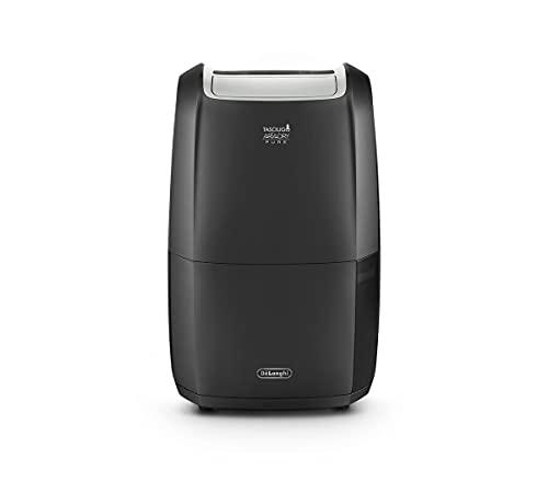 De Longhi Smart Deumidificatore&Purificatore con Wifi incorporato, Funzione Antiallergica, Filtro, Funzione 24h, Design Portatile, Eco-Friendly, 20 litri, DDSX220WFA, Nero