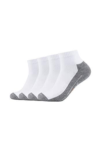 Camano Herren 5932 Sport Quarter 4 Paar Sportsocken, Weiß (White 01), (Herstellergröße: 35/38) (4er Pack)