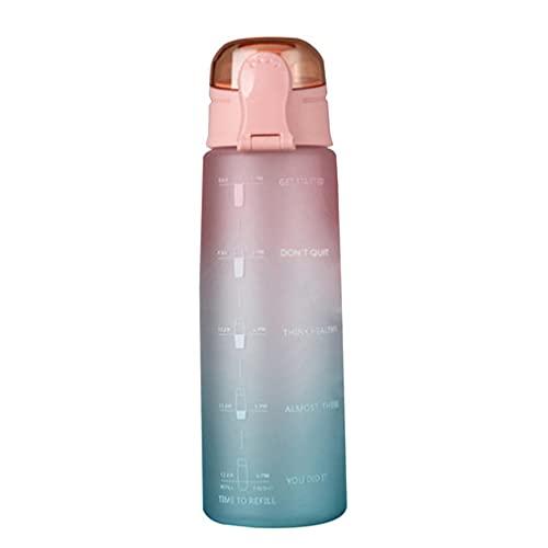 Botella de Agua de 900 ml Tapa de Rebote Botella de Agua con Escala y Boquilla de succión Naranja a Verde 10 * 3'