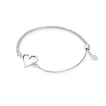 Alex and Ani Path of Symbols Adjustable Pull Chain Bracelet for Women Heart Charm 925 Sterling Silver 5.5 to 9.5 in