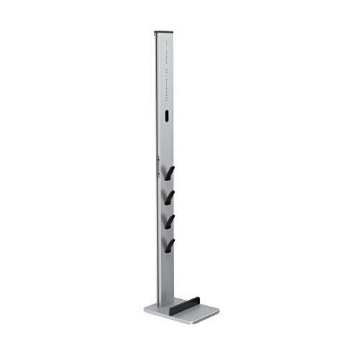 Xavax Universal Staubsauger-Ständer mit Zubehör-Halterung (Standfuß Organizer für Akkustaubsauger, Akkusauger Boden-Ständer passend für Dyson, Bosch, AEG, Philips, Rowenta, bohrfreie Montage) silber