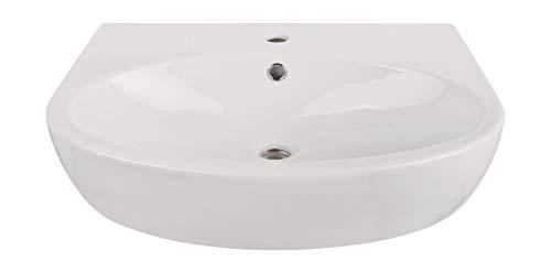 Calmwaters® - Modern Small 2 - Waschbecken mit 60 cm Breite in abgerundeter Form aus Keramik mit Überlauf zur Wandmontage - 05AB2290