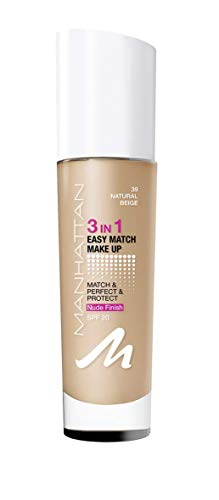 Manhattan 3in1 Easy Match Make Up, ölfreie Foundation für einen makellosen Teint, Farbe 39 natural beige, 30ml