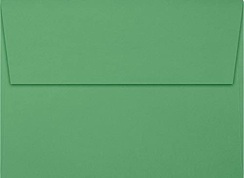 LUXPaper A7 Invitation Envelopes for 5 x 7 Cards in 80 lb. Holiday Green, Printable Envelopes for Invitations, w/Peel and Press Seal, 50 Pack, Envelope Size 5 1/4 x 7 1/4 (Green)