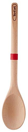 Tefal Ingenio Wood Cuchara de madera con lengua de silicona, materiales naturales, sin conductividad térmica, no daña sartenes ni ollas, anillo de silicona para apoyar, madera FSC