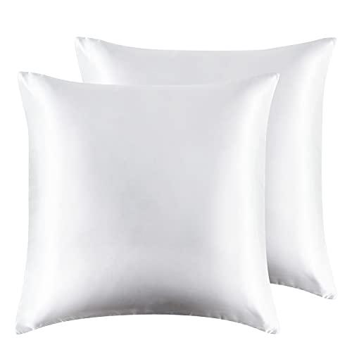 Hansleep Funda Almohada 65x65 cm de Satén Blanco, 2 Fundas Almohadas Cuadradas para Pelo Rizado - Juego de Protector Almohada Sedoso Liso Suave con Cremallera