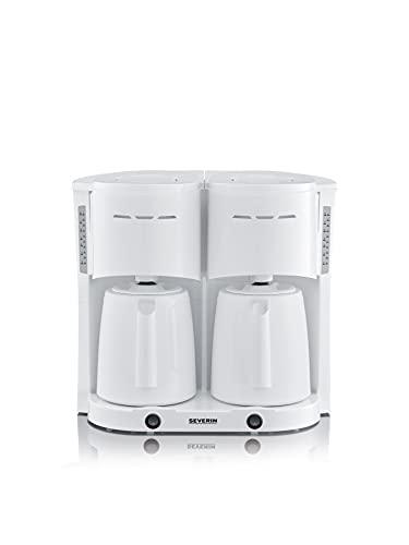 Severin KA 5830 - Cafetera de filtro doble con 2 jarras térmicas para hasta 8 jarras, 2 x 1000 W, color blanco