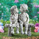 First Kiss, Puppy Love, Kissing Couple Garden Sculpture