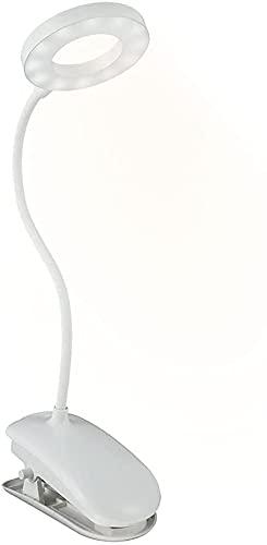 Lámpara Escritorio LED Pinza 8W 5V Luz de Lectura USB con Pinza 2000MAh 0.5A-2A Ajustable 360° Flexible 3 Modos de 10 Brillo para Lectura Estudio y Trabajo