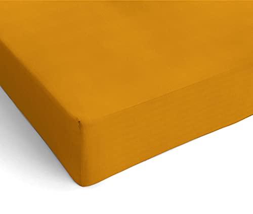 Banzaii Lenzuolo sotto con Angoli in Microfibra, Una Piazza e Mezza 110/120 x 190/200 x 25 cm, Giallo Made in Italy
