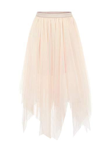 Joeoy Women's Apricot Layered Asymmetrical Mesh Tutu Tulle Skirt Prom Party Skirt-M