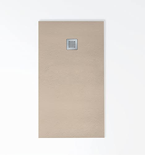 Plato de ducha de resina textura pizarra con capa de GelCoat sanitario, 3cm de grosor, antideslizante C-3, incluye válvula de gran caudal y rejilla en INOX. 15 colores disponibles.
