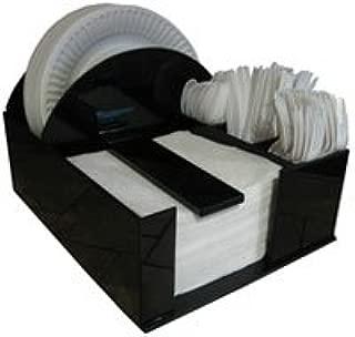 RCS Plastics Paper Plate Holder Napkin Dispenser Knife Fork Spoon Barbecue Organizer, BBQ or Picnic Caddy