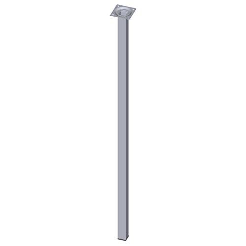 Element System 4 Stück Stahlrohrfüße eckig / Tischbeine / Möbelfüße / inkl. Anschraubplatte / L 80 cm / chrom / 4 Farben / 10 Abmessungen