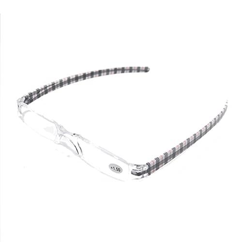 Henghao 携帯用 超軽量リムレス 老眼鏡 8色選択可能 シニアグラス おしゃれ リーディンググラス 専用ケース付 H6035 (レット チェック柄, +1.50)