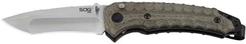 SOG KU 3003 Kiku Assisted Opening Folding Knife with Button Lock and S35VN Linen Micarta Handle product image