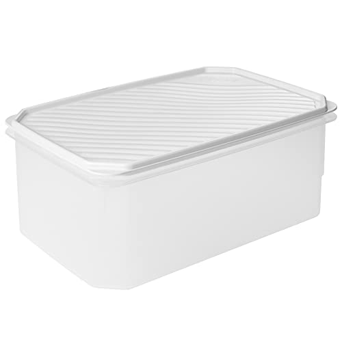 Tatay Fiambrera de Alimentos, Hermética, 4.7 L de Capacidad, Tapa Flexible a Presión, Libre de BPA, Apto Microondas y Lavavajillas, Color Blanco, Medidas: 28.5 x 18.5 x 12.2 cm