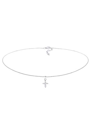 Elli Collana Ladies Choker Cross Religione Zirconia in Argento 925