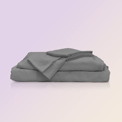 Sheets & Giggles 100% Eucalyptus Lyocell Sheet Set. Our All-Season Eucalyptus Sheets are Responsibly Made, Naturally Cooling, Super Soft, Moisture-Wicking, Chemical-Free- Queen, Grey