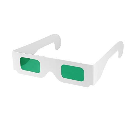 DealMux Secret Decoder Brille Grün-Grün Filter Linse Weiß Faltbarer Rahmen 3D Brille 20st