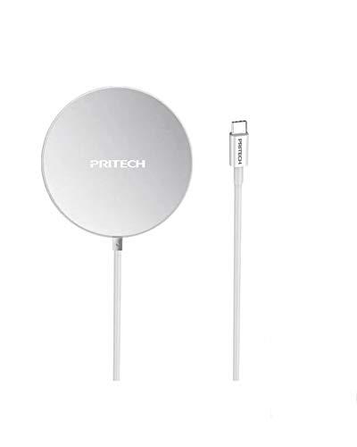 PRITECH Cargador Inalámbrico Magnético de Carga Rápida 15W Compatible con iPhone 12 mini/12/12 Pro/12 Pro MAX/Cable Tipo C. Compatible con Cargador mag-Safe