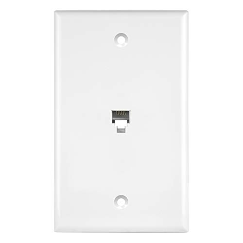 ENERLITES RJ11 Telephone Jack Wall Plate, 6-Position 6-Conductor 6P6C (2 Line Support), 1-Gang 4.50' x 2.76', 6631-W, White