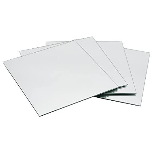 DRULINE 4er Set Klebespiegel Spiegelfliesen Badezimmerspiegel Wandaufkleber Dekoration selbstklebend   L x B x H 20x 20 x 0.2 cm   Silber