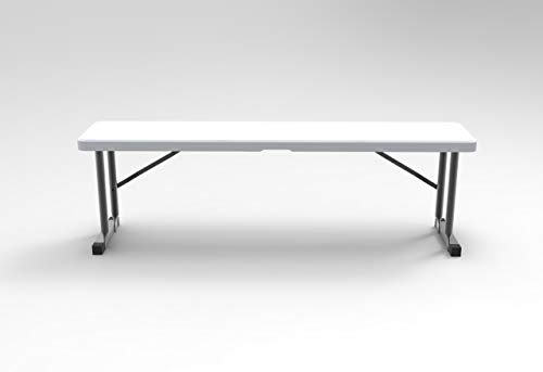 3 Foot Plastic Folding Bench - Lightweight & Portable White Resin with Sturdy Steel Frame, Perfect for Entertaining Indoor and Outdoor, Seats Many,- 9