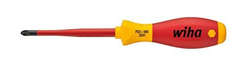 Wiha Schraubendreher SoftFinish® electric slimFix Pozidriv (35395) PZ1 x 80 mm für tiefliegende Schrauben, ergonomischer Griff für kraftvolles Drehen, Allrounder für Elektriker, VDE-geprüft, stückgeprüft