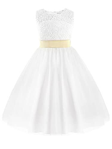 IEFIEL Vestido Princesa Blanco de Fiesta para Niña Vestido Elegante de Dama de Honor Vestido Cóctel Encaje Sin Mangas de Ceremonia Boda Blanco 8 años
