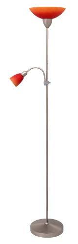 Staande lamp met leeslamp, chroom mat, metaal, E27 + E14, lichtladen, staande lamp