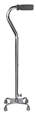 Quad Cane, Chrome Finish, Adjustable 30' to 39', Small Base, Aluminum