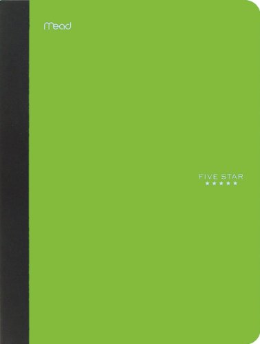 """Five Star Composition Book, Notebook, College Ruled Paper, 100 Sheets, 9-1/2"""" x 7-1/2"""", Comp Book, Lime (72861)"""
